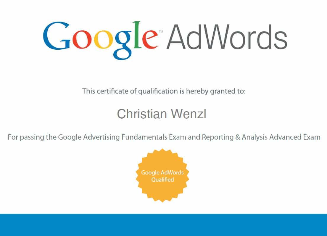 Kosten google adwords zertifizierung реклама немецких товаров реклама то