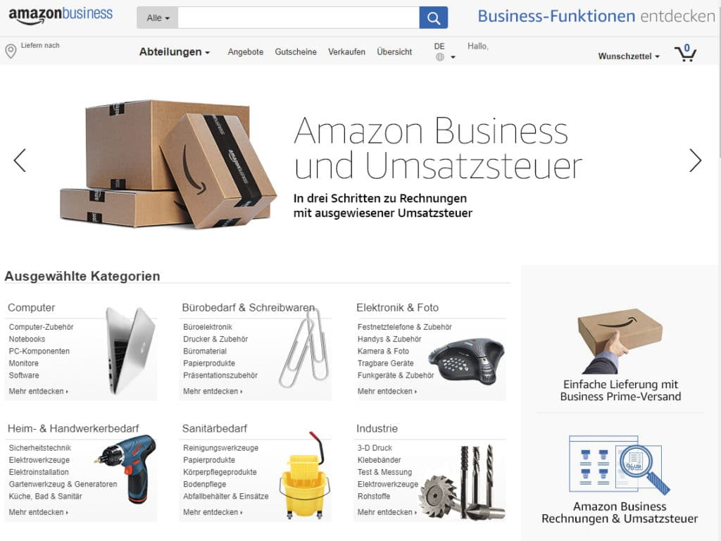 Amazon Business Startseite