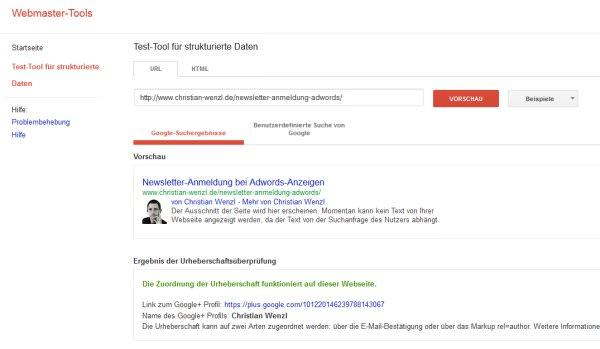 Autorenbild bei Google prüfen