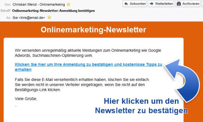 newsletter anmeldung letzter schritt onlinemarketing niederbayern. Black Bedroom Furniture Sets. Home Design Ideas