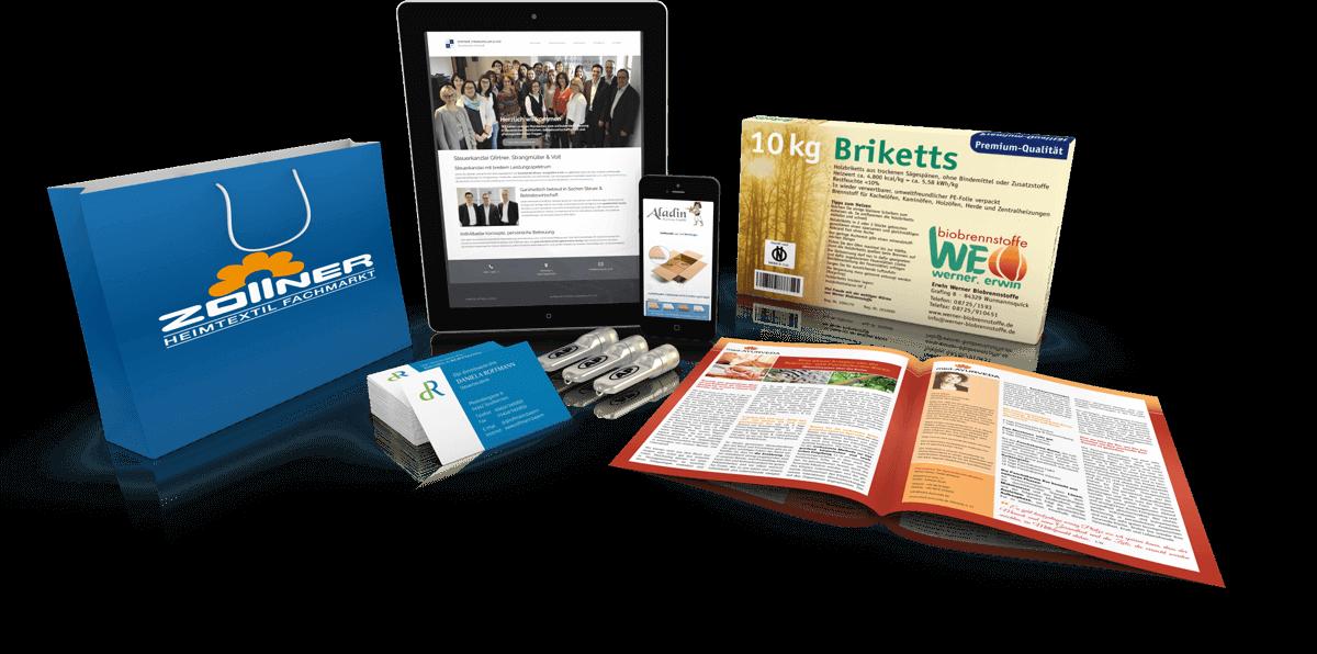 Referenzen: Webseiten, Verpackungen, Geschäftsausstattung u.v.m.