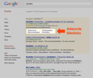 Sitelinks bei Google Adwords